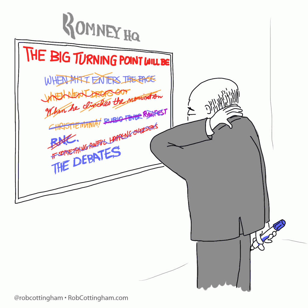 Cartoon: Romney campaign strategist staring at whiteboard that reads 'The Big Turning Point Will Be'
