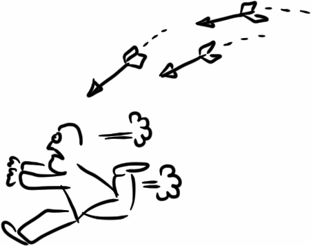 man being chased by arrows