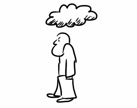man walks away under a cloud